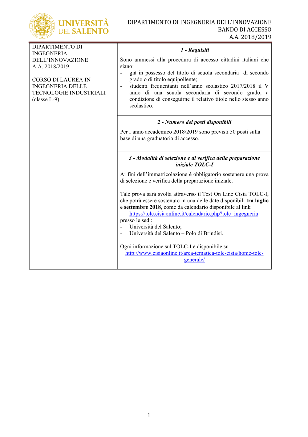 Tolc I Calendario.Documentale Consulta Del Personale Universita Del Salento